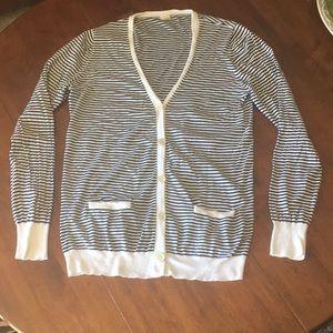 J.Crew  white with black stripes cardigan sz XL